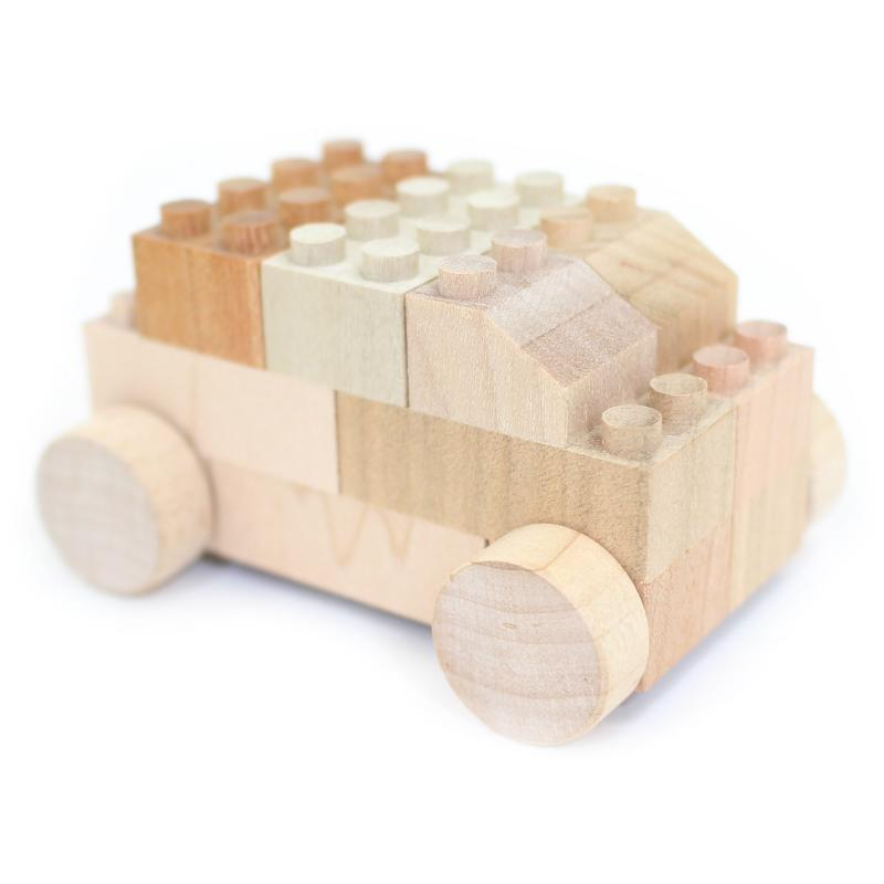 Mokulock Wooden Bricks with Wheels (14 pieces)