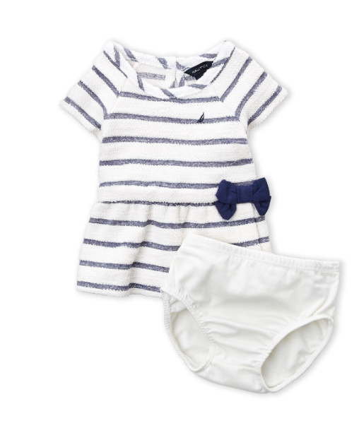 Two-Piece Striped Terry Dress & Shorts Set