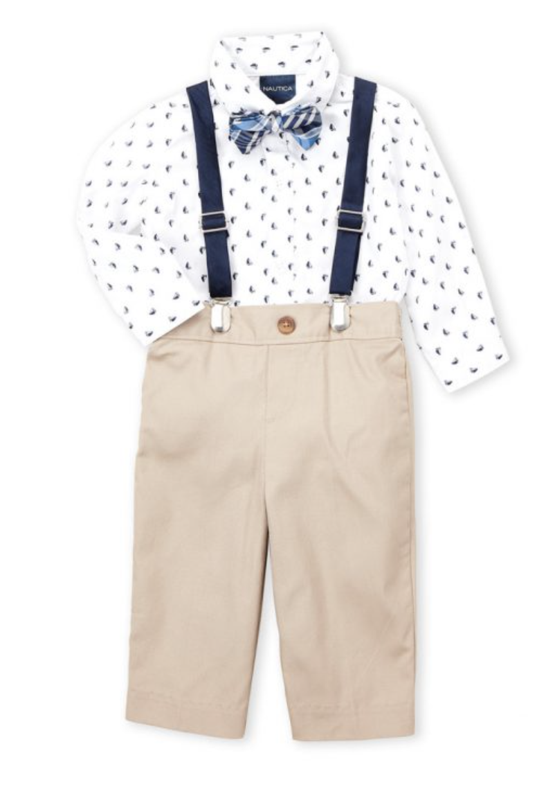 4-Piece Sailboat Bodysuit & Khaki Pants Set