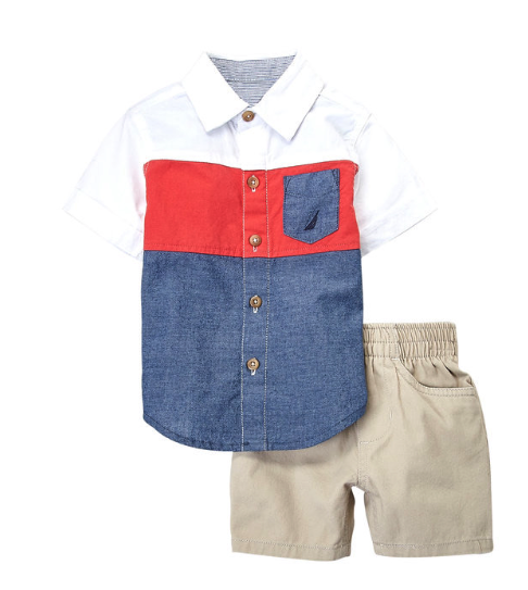 Two-Piece Colour Block Shirt & Shorts Set