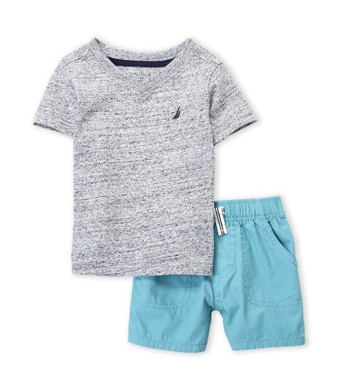 Two-Piece Grey V-Neck Tee & Shorts Set