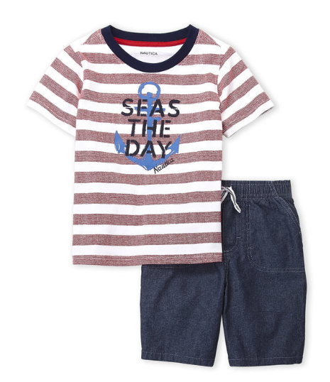Two-Piece Stripe Seas The Day Tee & Chambray Shorts Set