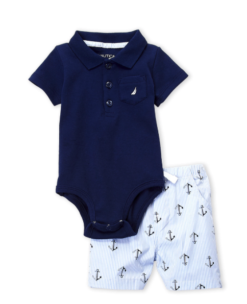 Two-Piece Bodysuit & Anchor Shorts Set