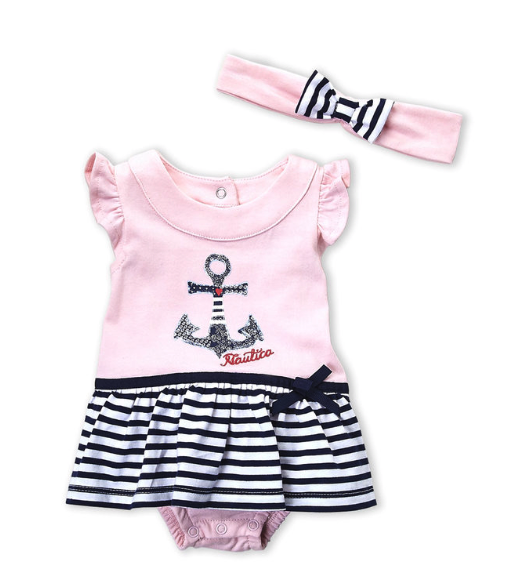 Two-Piece Anchor Skirted Bodysuit & Headband Set