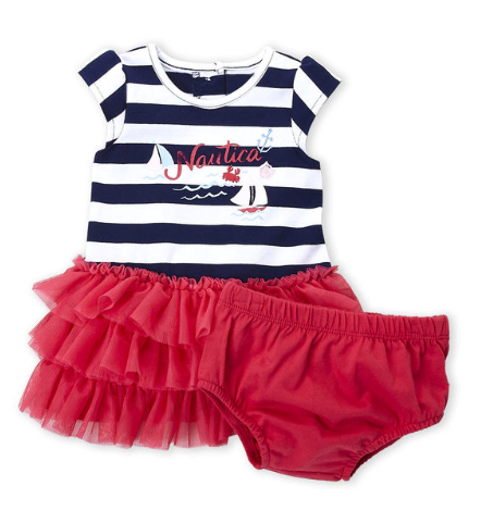 Two-Piece Stripe Logo Tutu Dress & Bloomers Set