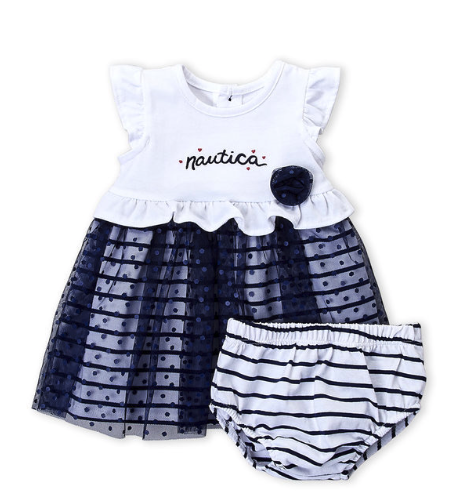2-Piece Flutter Swiss Dot Dress & Bloomers Set