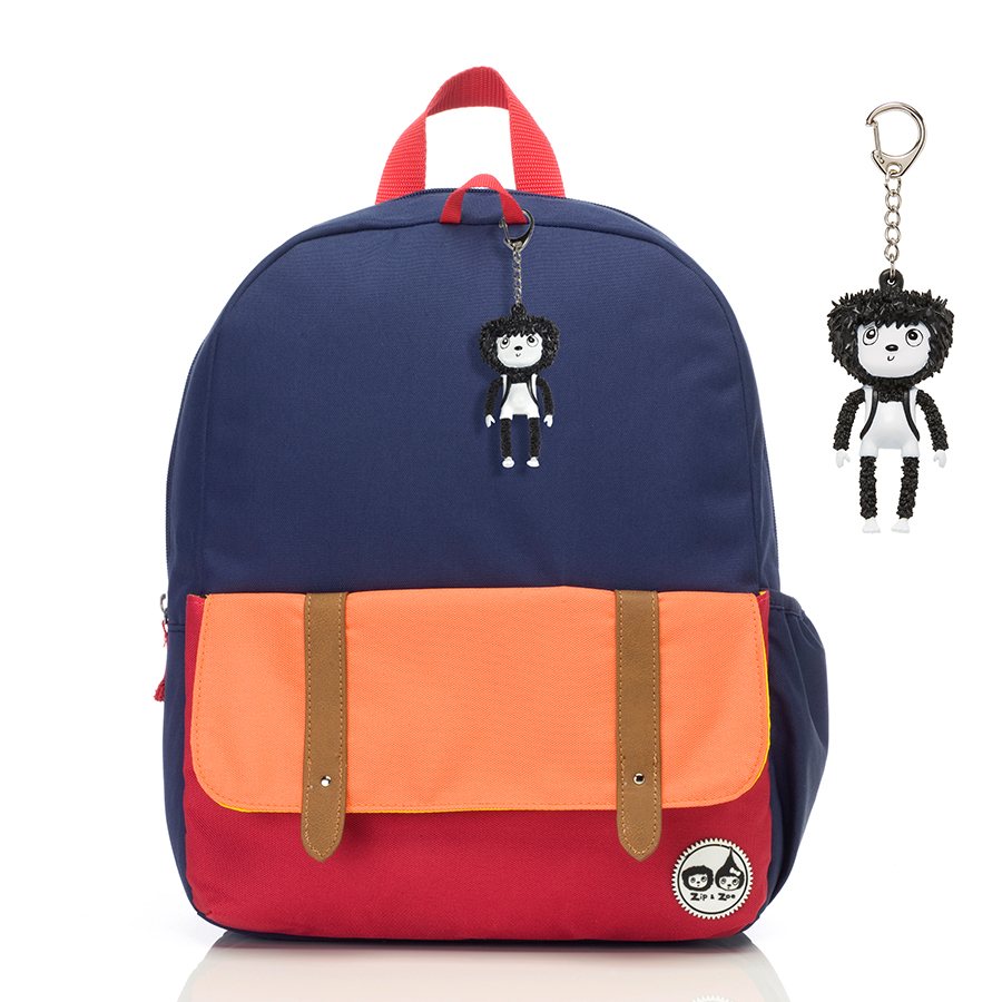 Zip and Zoe Junior Kid's Backpack (4-9Y) Navy Colour Block