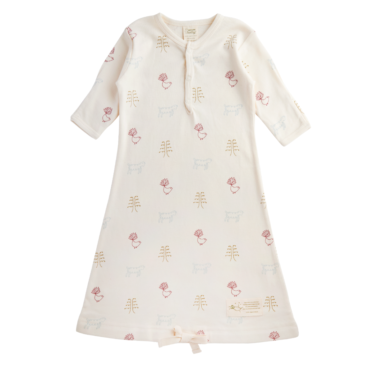 Nature Baby Organic Cotton Gown Nature Baby Print 3-6M