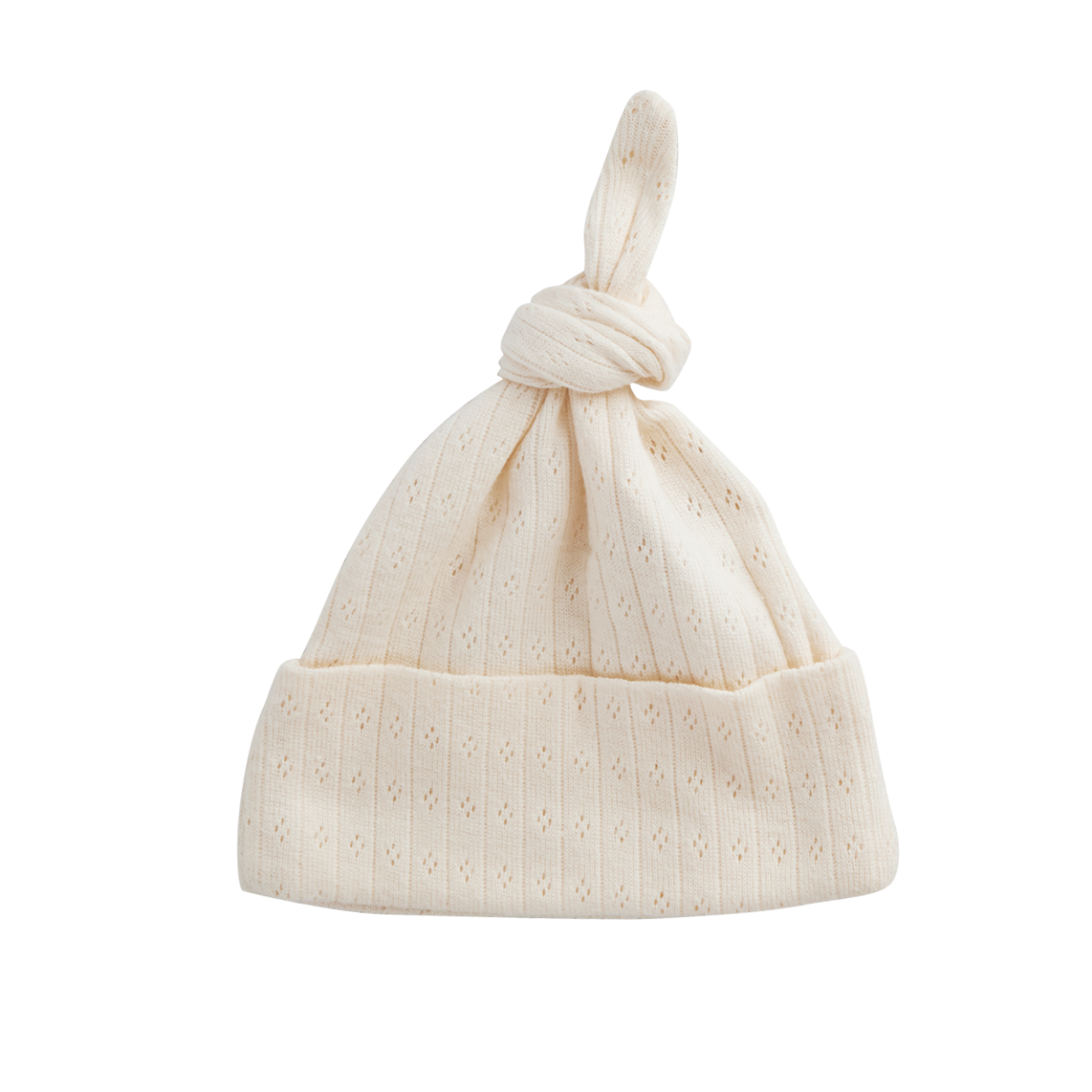 Nature Baby Organic Cotton Knotted Beanie Pointelle Newborn