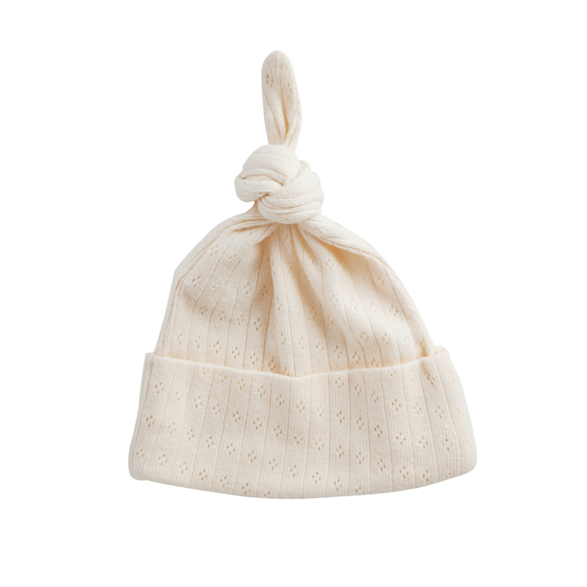Nature Baby Organic Cotton Knotted Beanie Pointelle 0-6M