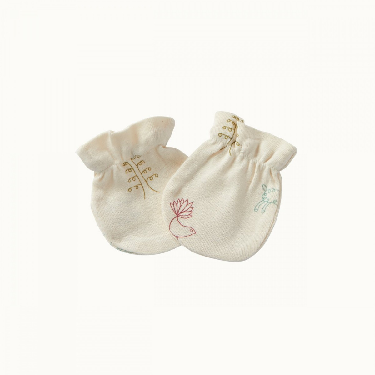 Nature Baby Organic Cotton Newborn Scratch Mittens with Print 0-3M