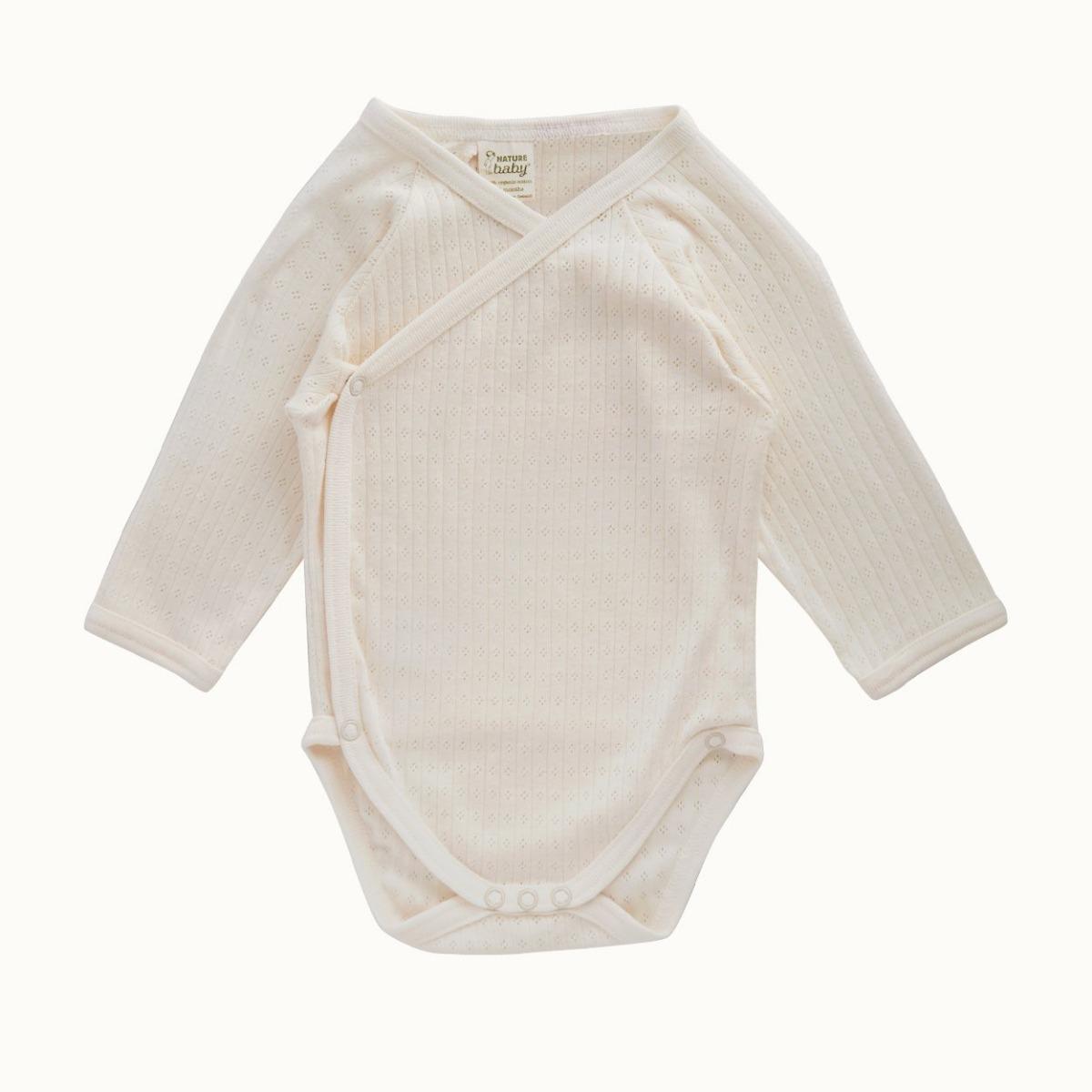 Nature Baby Organic Cotton Kimono Bodysuit Pointelle 0-3M