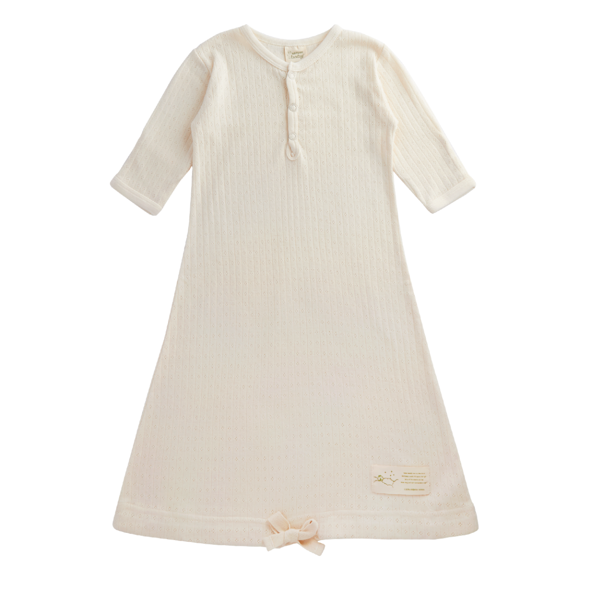 Nature Baby Organic Cotton Gown Pointelle 3-6M