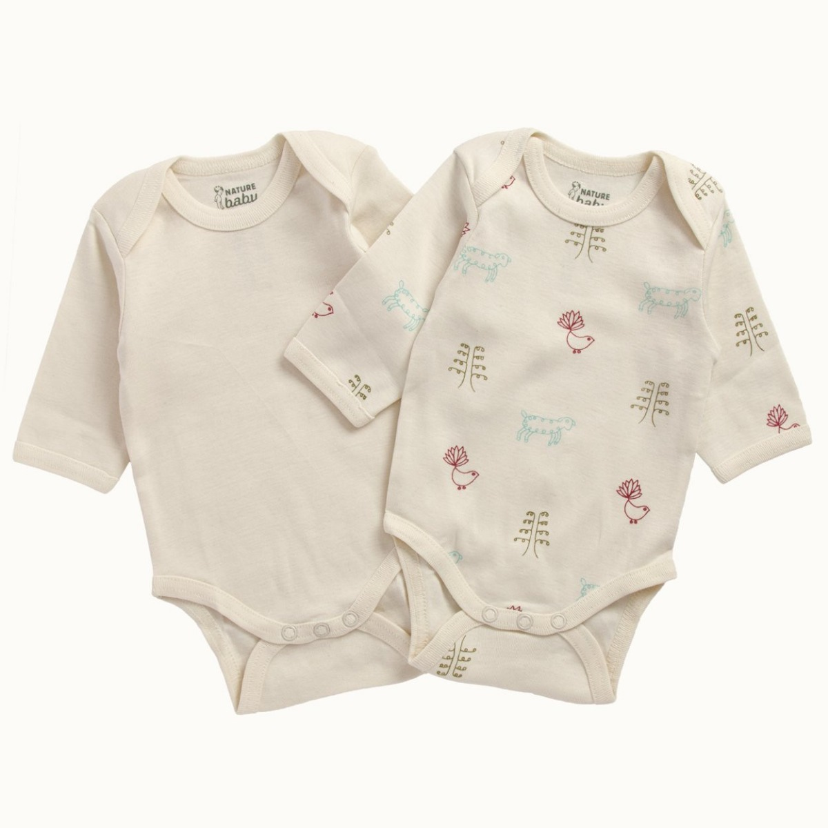 Nature Baby Organic Cotton 2 Pack Bodysuit 6-12M