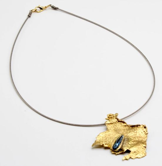 Solid Bronze Necklace Matt Style with Blue Crystal