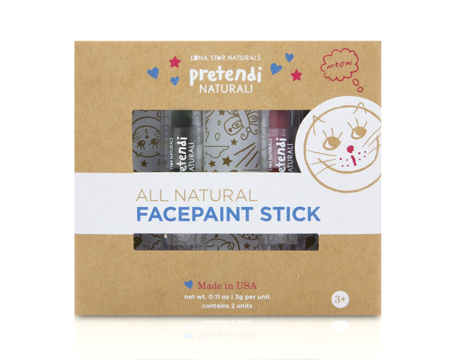 Natural Face Paint Stick Red & Black - Set of 2