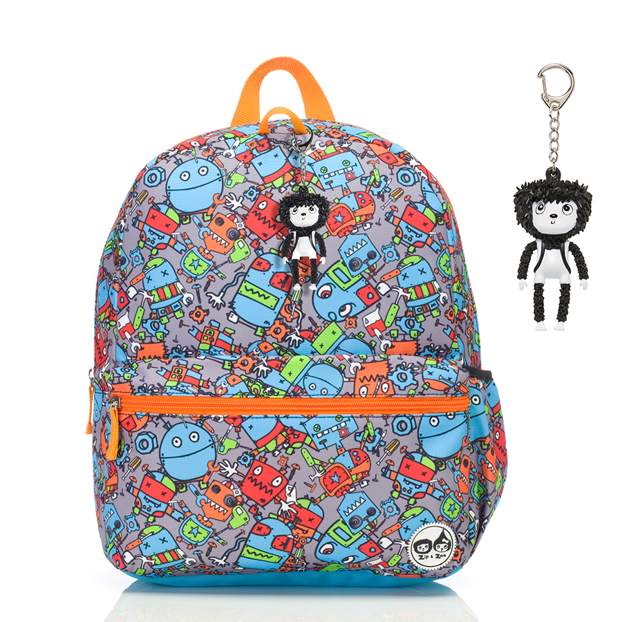 Zip and Zoe Junior Kid's Backpack (4-9Y) Robots Blue
