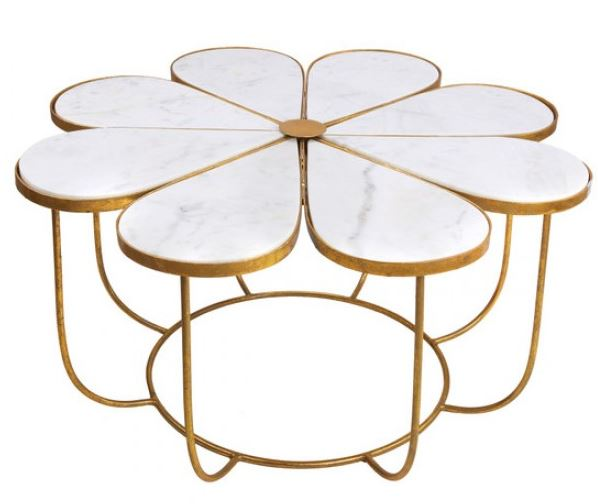FLOWER SHAPED COCKTAIL TABLE GOLD METAL & WHITE MARBLE