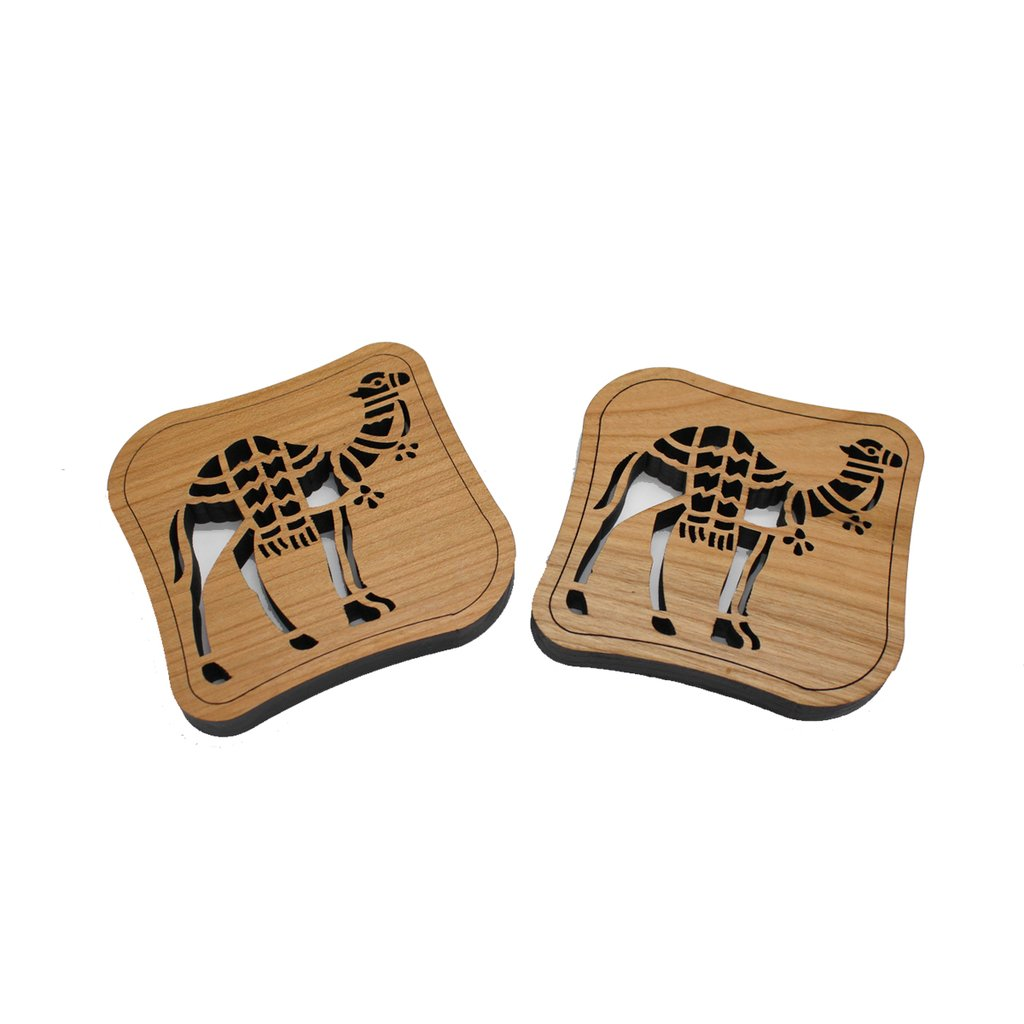 Handcrafted Wood Set of 2 Coasters Camels