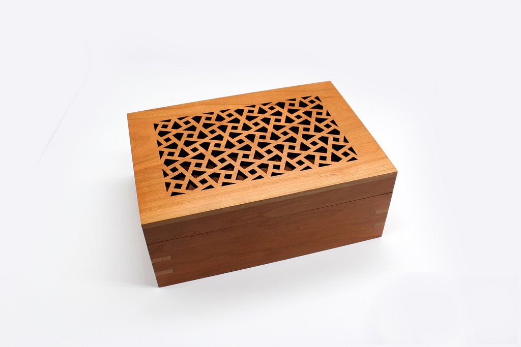 Handcrafted Wood Box with Filigree Arabesque Design