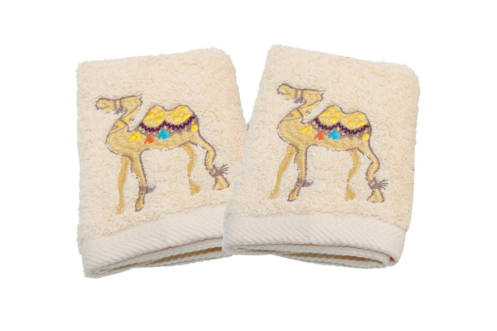 Guest Towels Camel Set of 2 Off White