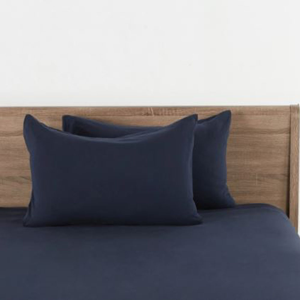 Cloud Jersey Pillow Covers Set of 2 -Navy
