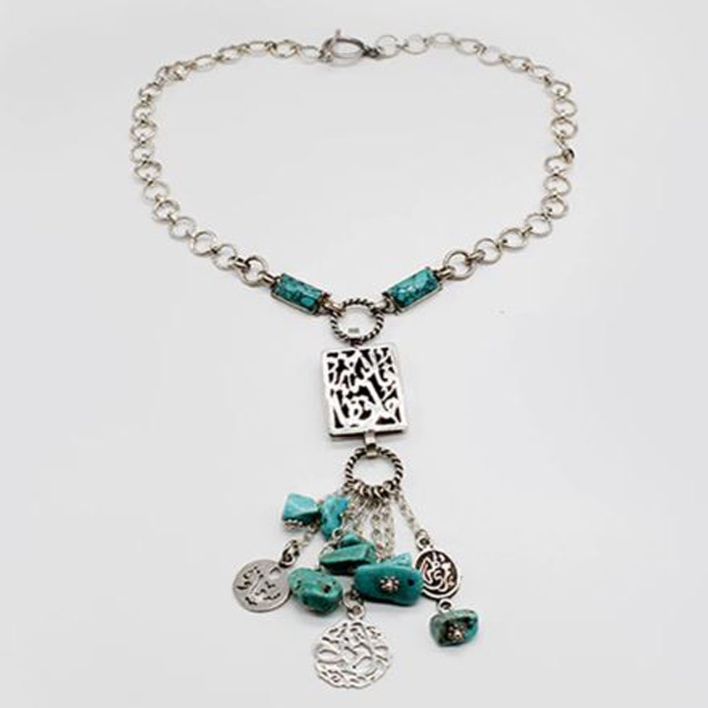 Pure Silver Necklace Turquoise with Arabic Calligraphy Pendant