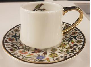 Floral Cylinder Espresso Cup + Saucer
