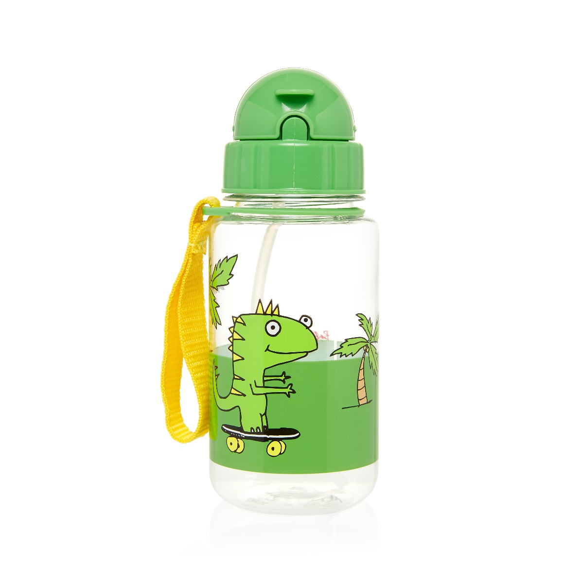 Zip and Zoe Drinking Bottle with Straw Dylan Dino Palm
