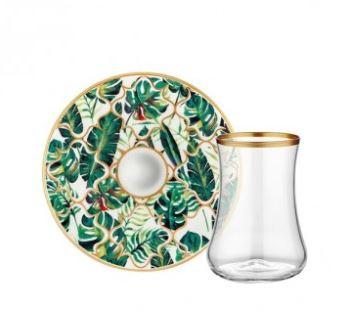 Turkish Collection Amazon Equator Tea Glass with Saucer 6 sets