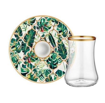 Amazon Equator Tea Glass with Saucer 6set