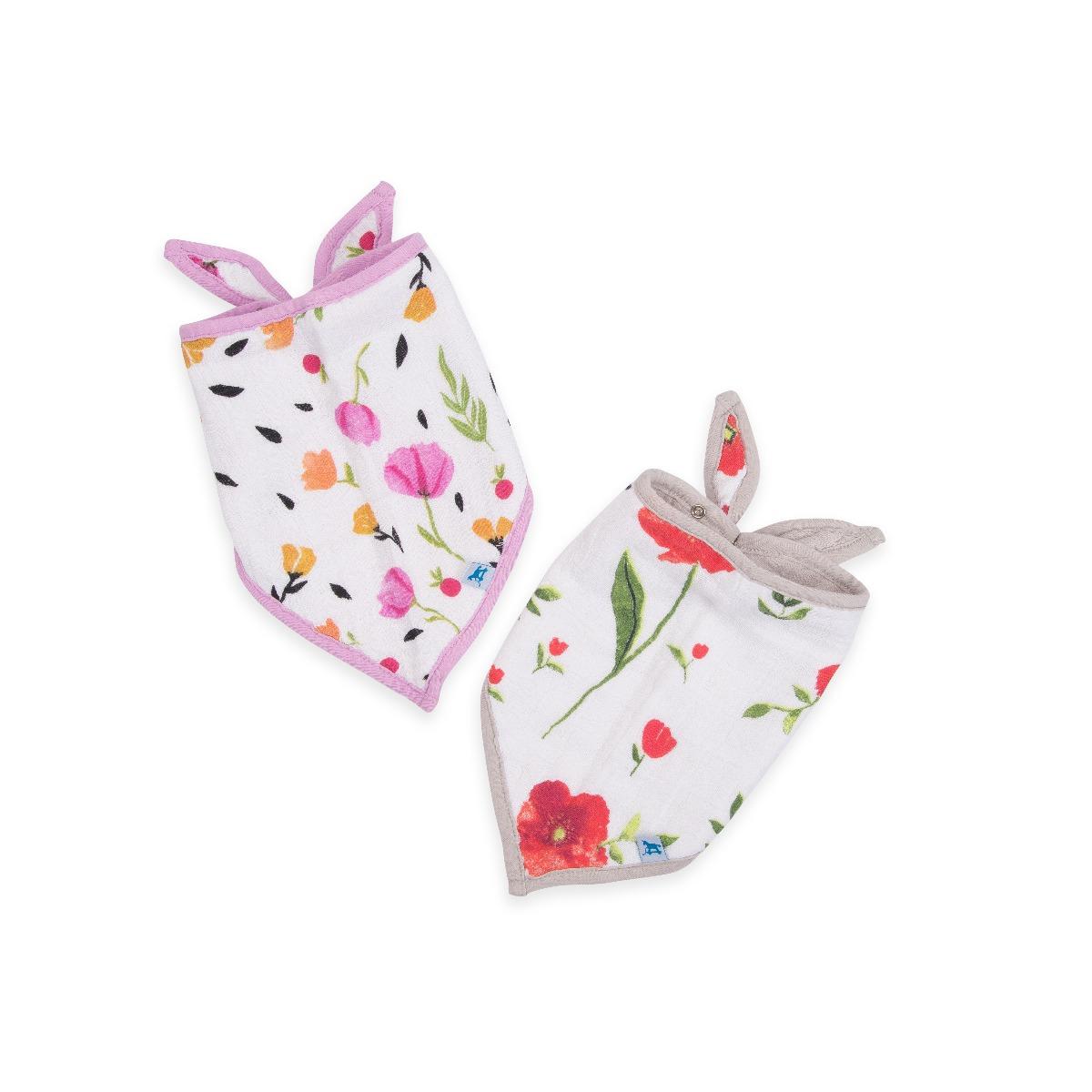 Little Unicorn 2-Pack Cotton Muslin Bandana Bib Set Summer Poppy