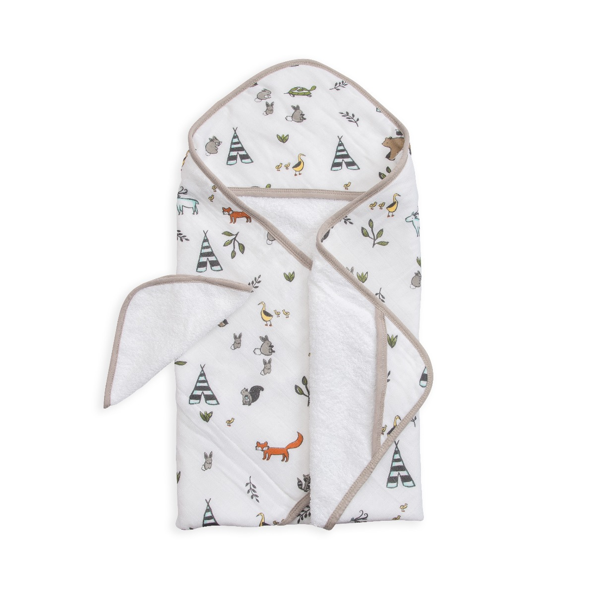 Little Unicorn Hooded Towel & Washcloth Set Forest Friends