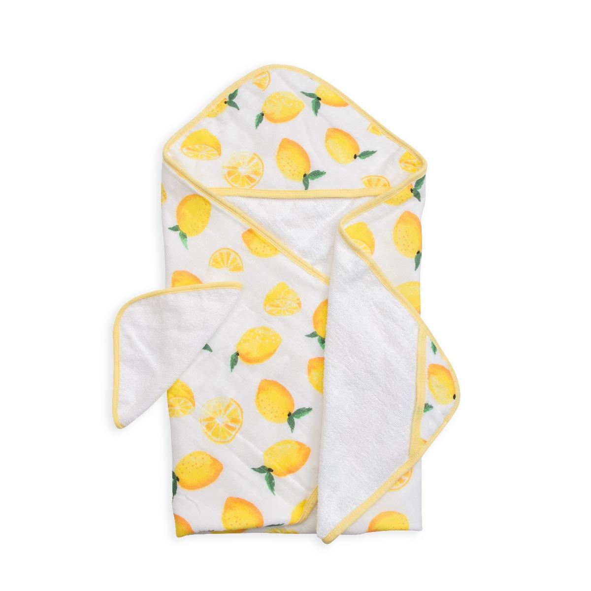 Little Unicorn Hooded Towel & Washcloth Set Lemon
