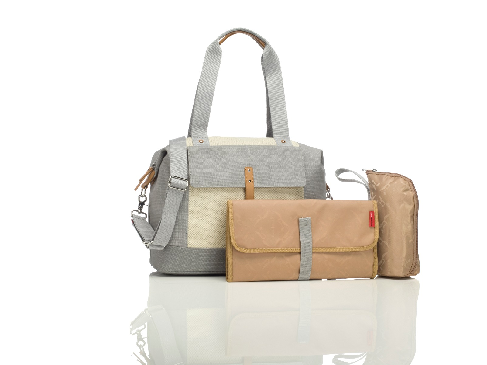 Storksak Jude Convertible Bag Natural/Grey