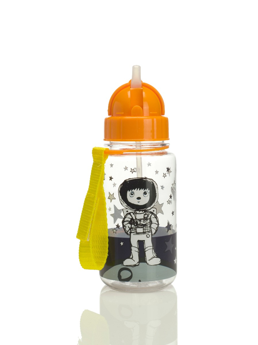 Zip and Zoe Drinking Bottle with Straw Spaceman