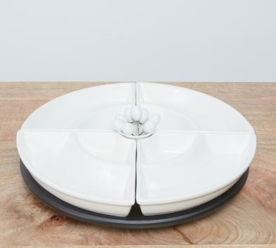Waterbury Lazy Suzan 29x18.54.2cm 4 pc  white