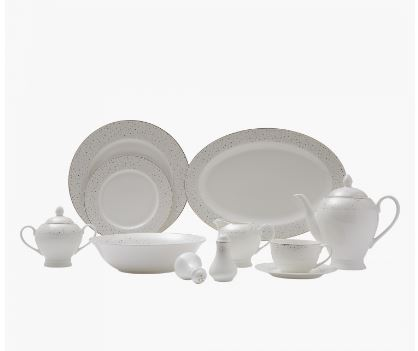 White Fluffy 47 Pc Dinner set